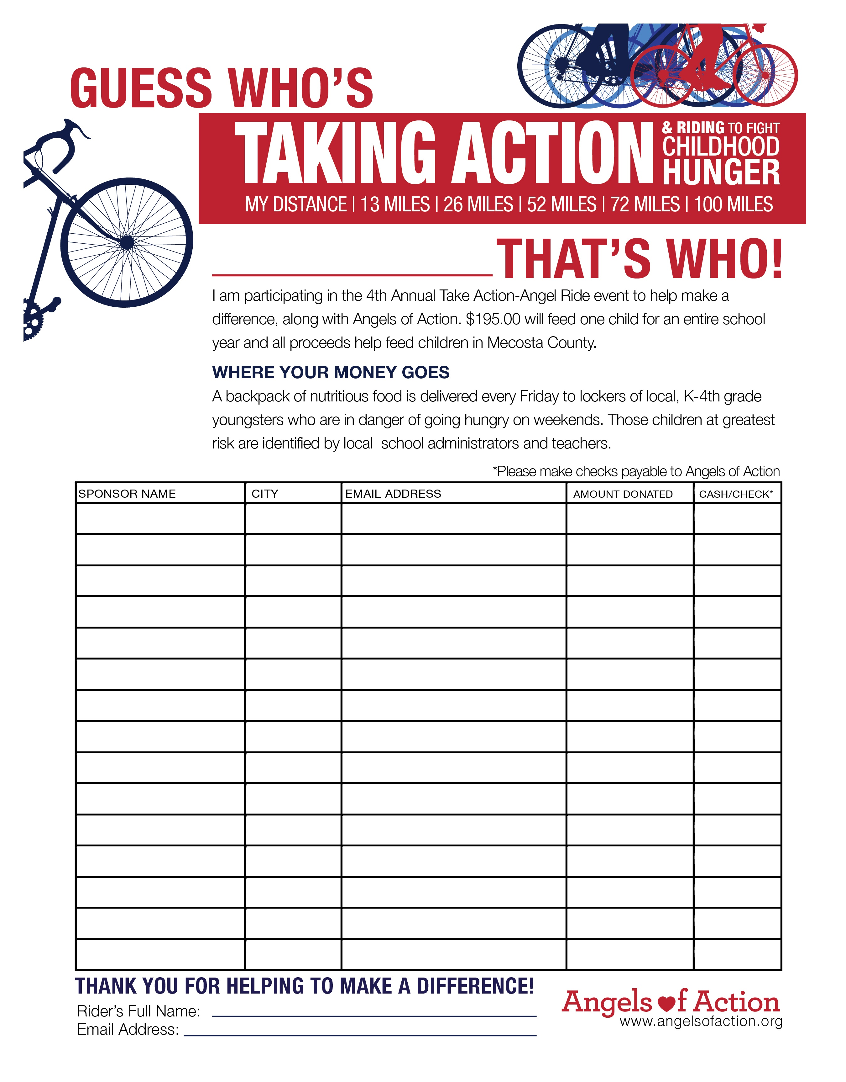 Rider Pledge Form Angels of Action – Pledge Form