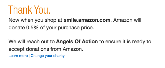 Amazon Smile Confirmation